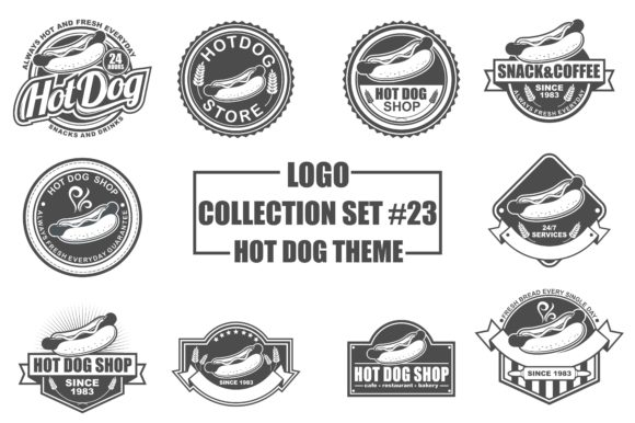 Print on Demand: Logo Collection Set with Hot Dog Theme Grafik Logos von azkaryzki