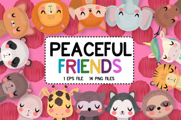 Print on Demand: Peaceful Friends Clipart Set Graphic Illustrations By JM_Graphics