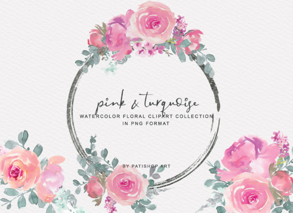 Download Free Pink Turquoise Floral Bouquet Clipart Graphic By Patishop Art for Cricut Explore, Silhouette and other cutting machines.