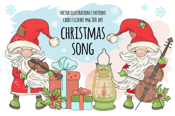 Print on Demand: Santa Music Vector Set Graphic Illustrations By FARAWAYKINGDOM
