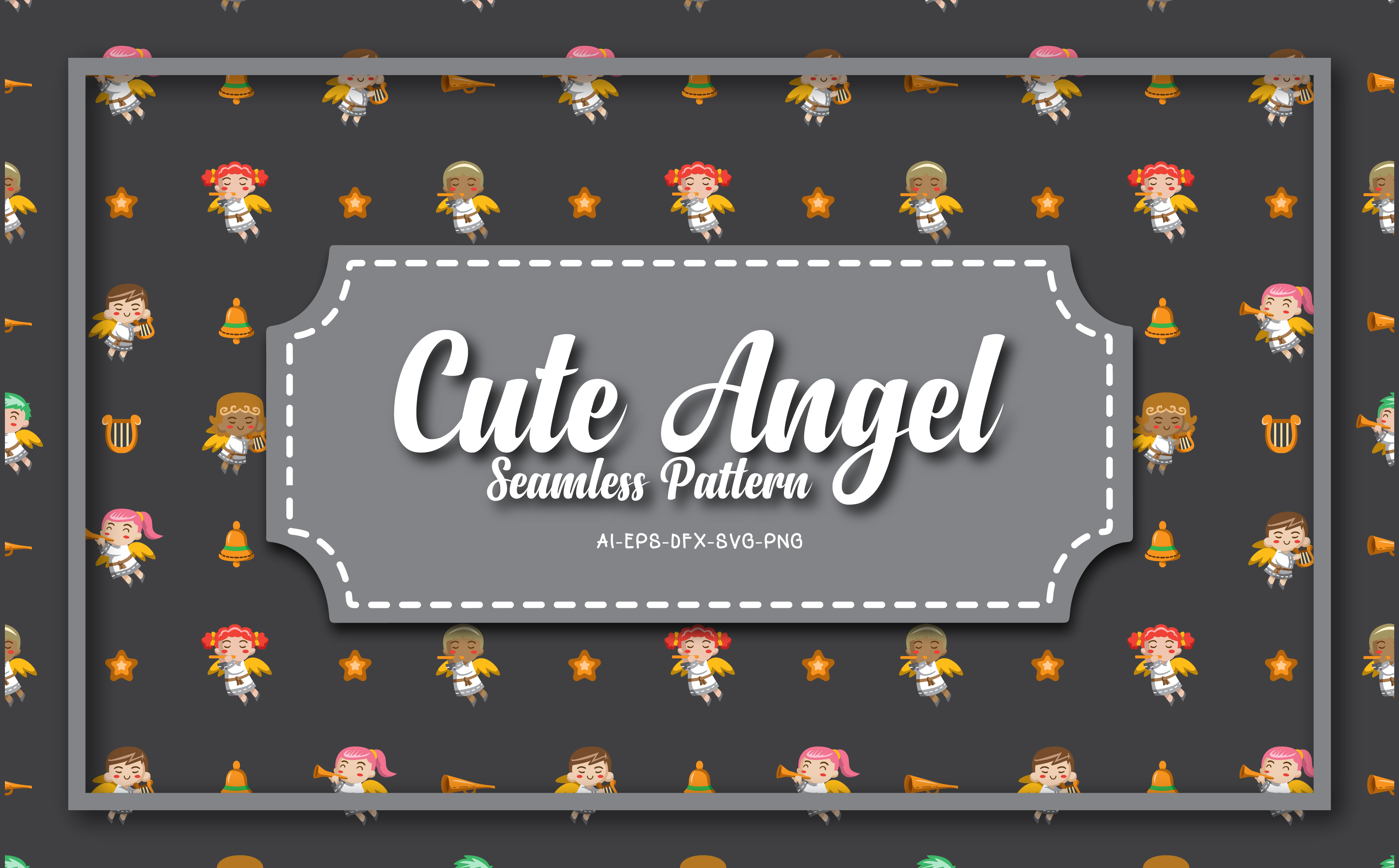 Download Free Seamless Patterns Cute Angel 17 Graphic By Bayu Baluwarta for Cricut Explore, Silhouette and other cutting machines.