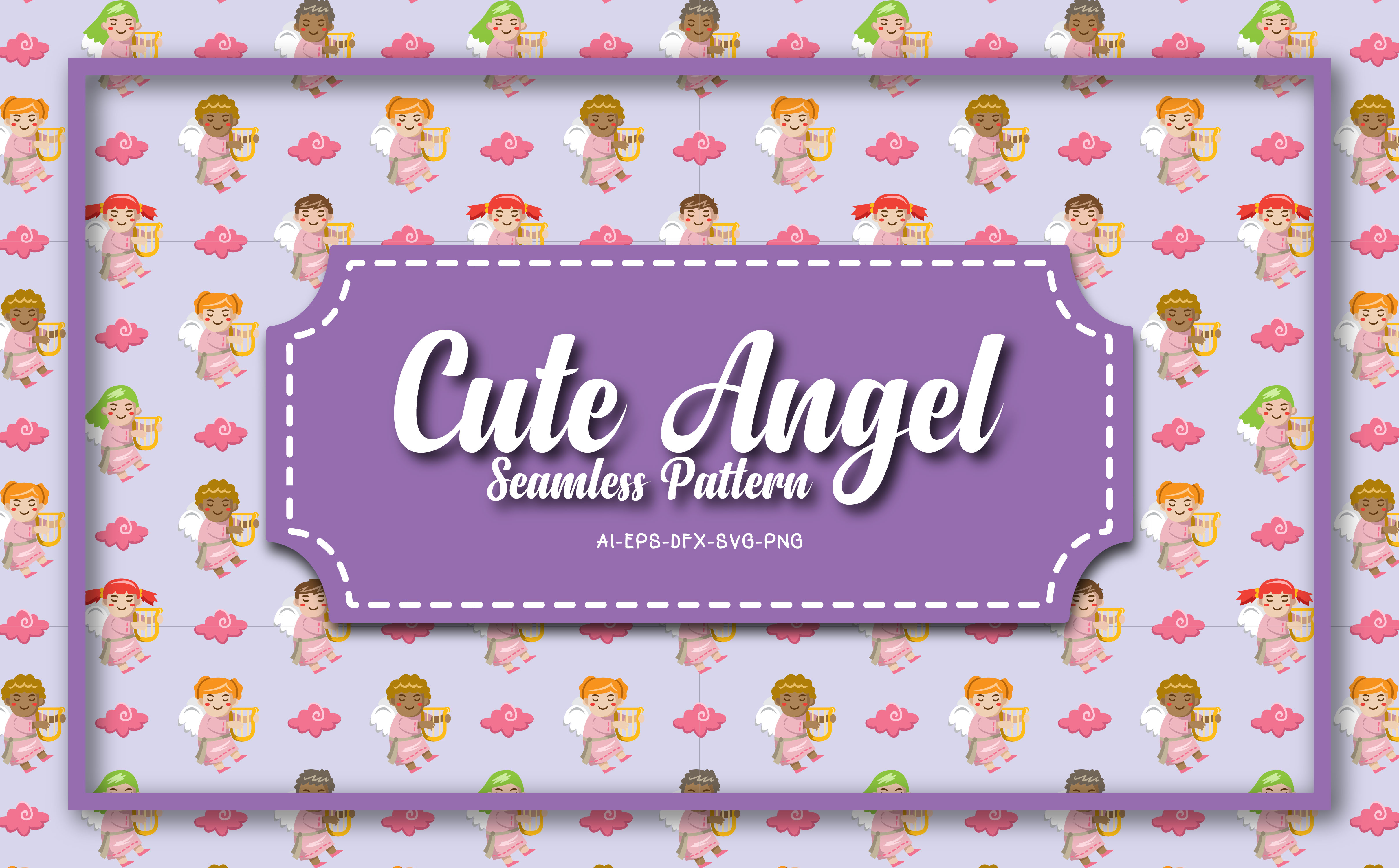 Download Free Seamless Patterns Cute Angel 5 Graphic By Bayu Baluwarta for Cricut Explore, Silhouette and other cutting machines.