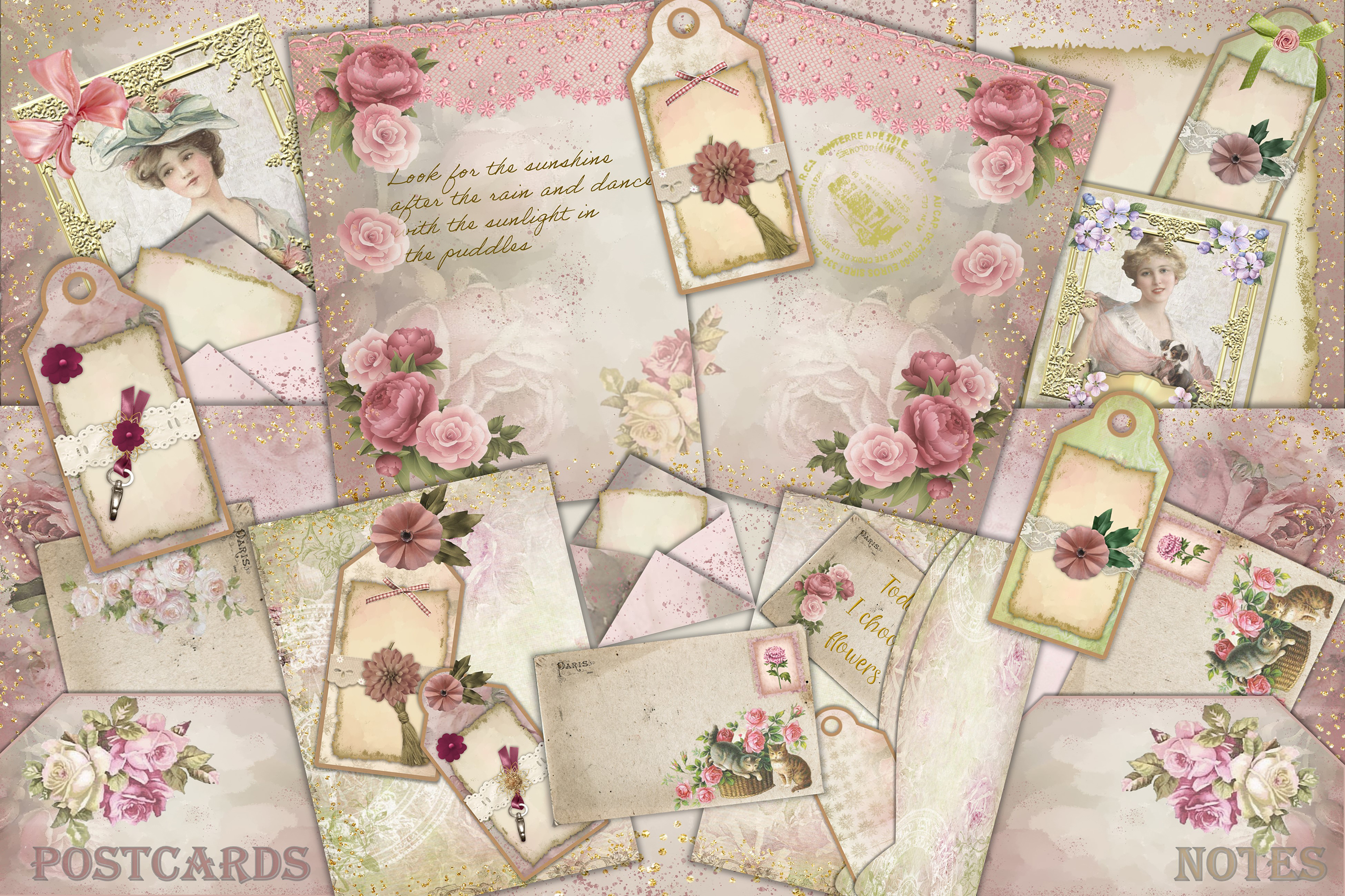 Download Free Shabby Chic Journaling Kit Free Ephemera Graphic By The Paper Princess Creative Fabrica for Cricut Explore, Silhouette and other cutting machines.