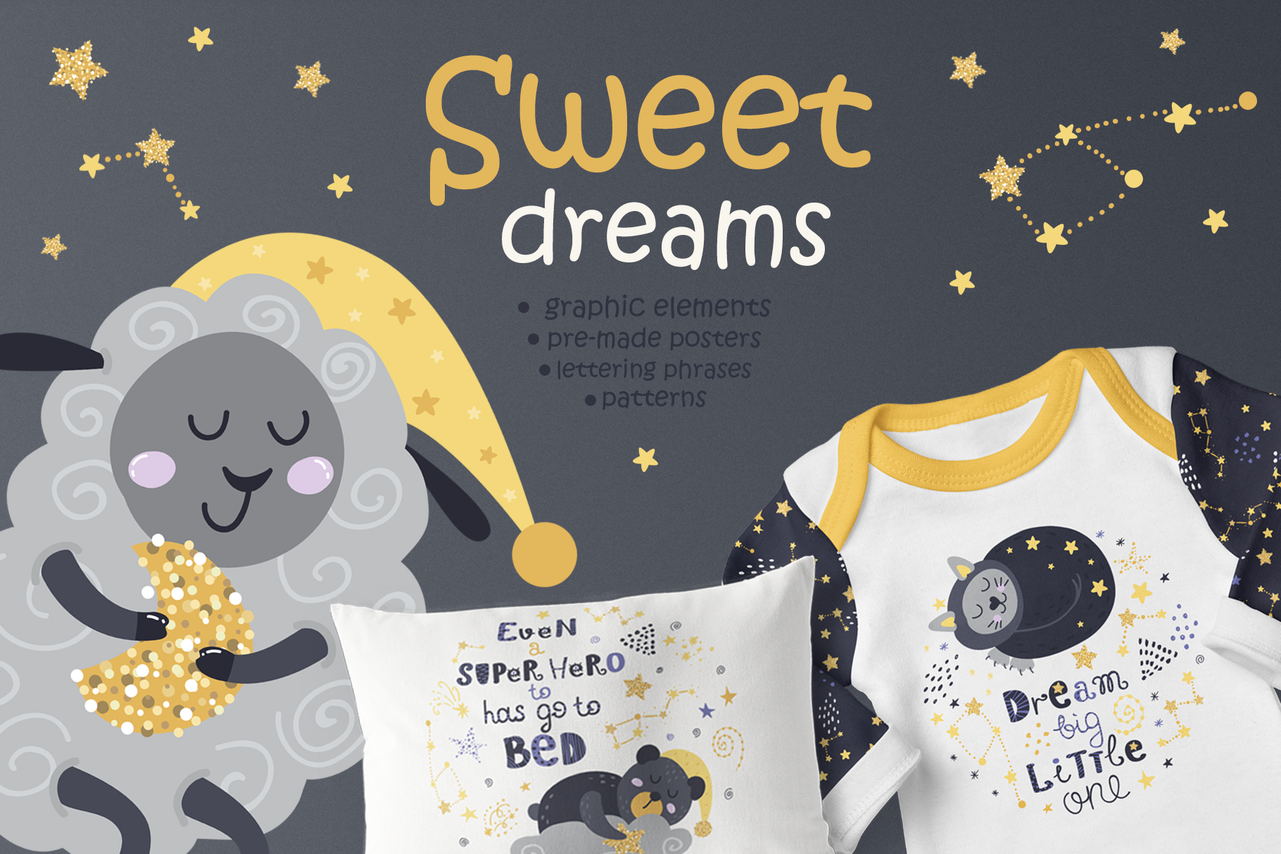 Download Free Sweet Dreams Baby Graphic By Nafanya Creative Fabrica for Cricut Explore, Silhouette and other cutting machines.
