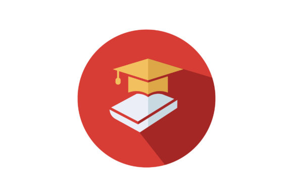 Download Free Book And Graduation Cap Flat Vector Icon Graphic By Riduwan for Cricut Explore, Silhouette and other cutting machines.
