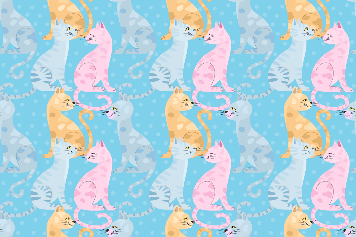 Download Free Colorful Cats On Blue Background Graphic By Ranger262 for Cricut Explore, Silhouette and other cutting machines.