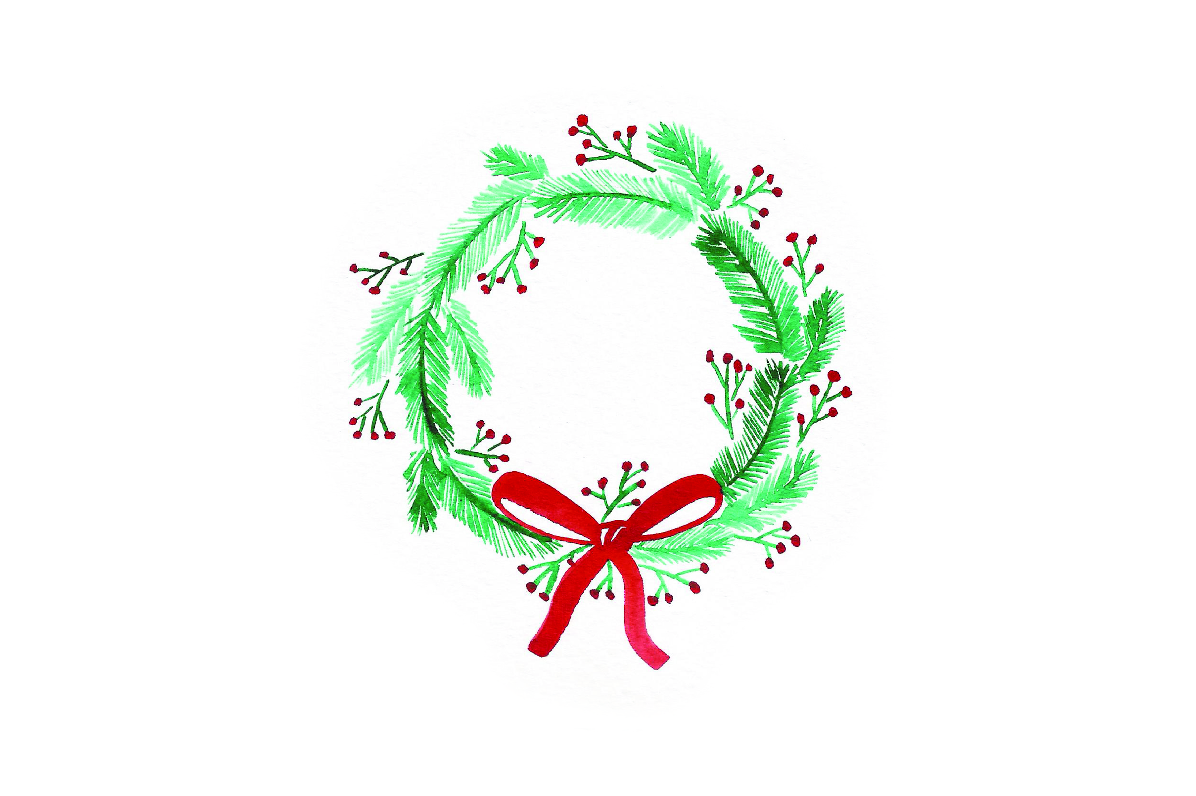 Download Free Christmas Wreath With Bow Watercolor Svg Cut File By Creative for Cricut Explore, Silhouette and other cutting machines.