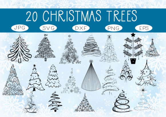 Download Free 20 Elegant Christmas Trees Graphic By Capeairforce Creative for Cricut Explore, Silhouette and other cutting machines.