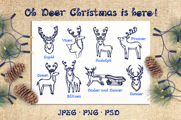 8 Hand Drawn Christmas Deer Graphic Illustrations By AV Design