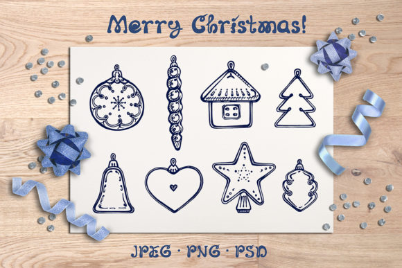 8 Hand Drawn Christmas Decorations Graphic Illustrations By AV Design