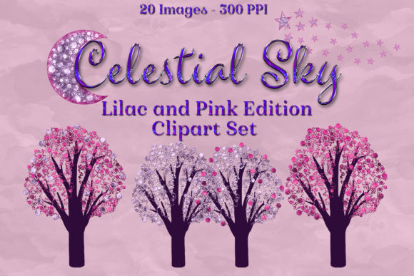 Print on Demand: Celestial Sky Lilac and Pink Clipart Graphic Objects By SapphireXDesigns