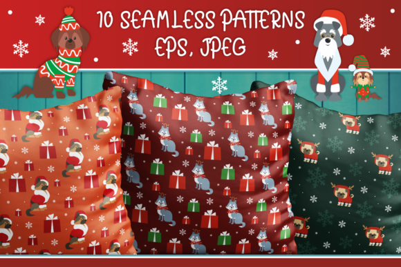 Print on Demand: Christmas Patterns with Dogs Graphic Patterns By Olga Belova - Image 1