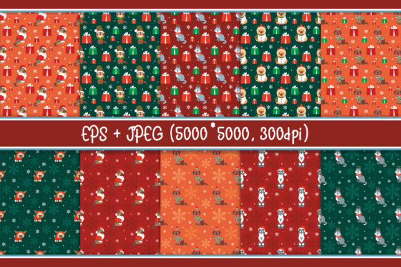 Print on Demand: Christmas Patterns with Dogs Graphic Patterns By Olga Belova - Image 2