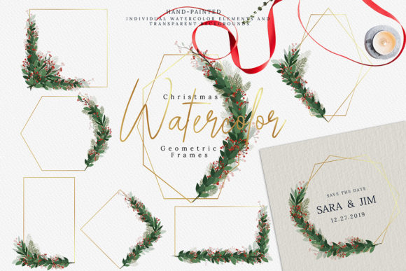 Print on Demand: Christmas Watercolor Geometric Frames Graphic Illustrations By 3Motional