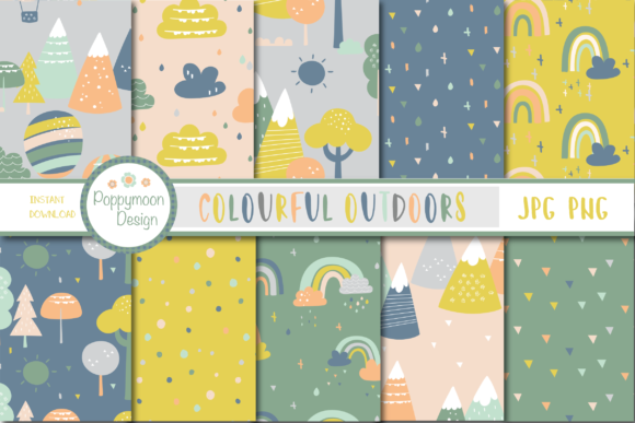 Print on Demand: Colourful Outdoors Paper Graphic Patterns By poppymoondesign