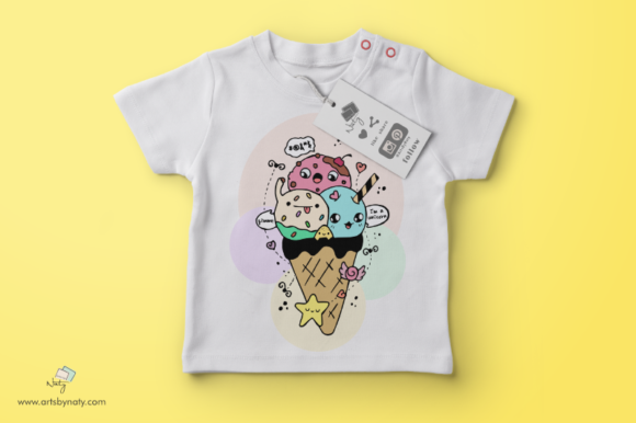 Print on Demand: Cute Ice Cream Kawaii Illustration Graphic Illustrations By artsbynaty - Image 2