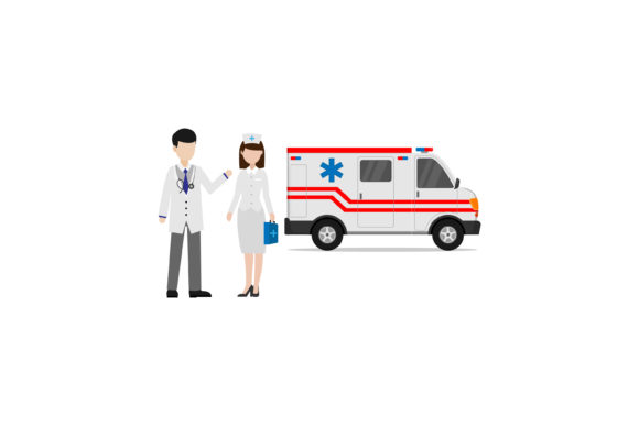 Print on Demand: Doctor Nurse and Ambulance Vector Design Graphic Illustrations By sabavector