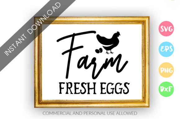 Download Free Farm Fresh Eggs Graphic By Designfarm Creative Fabrica for Cricut Explore, Silhouette and other cutting machines.