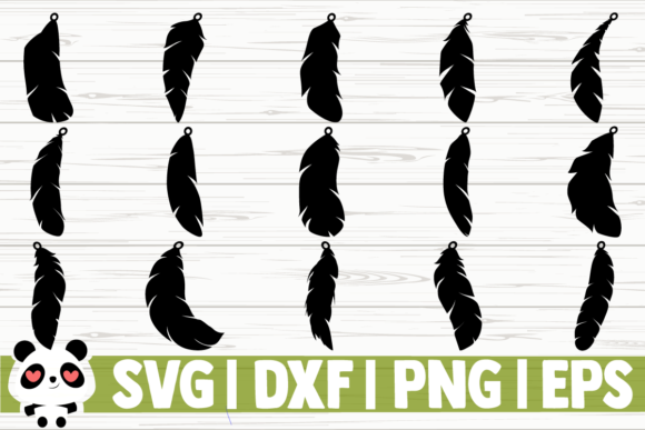 Print on Demand: Feather Earrings Graphic Illustrations By CreativeDesignsLLC