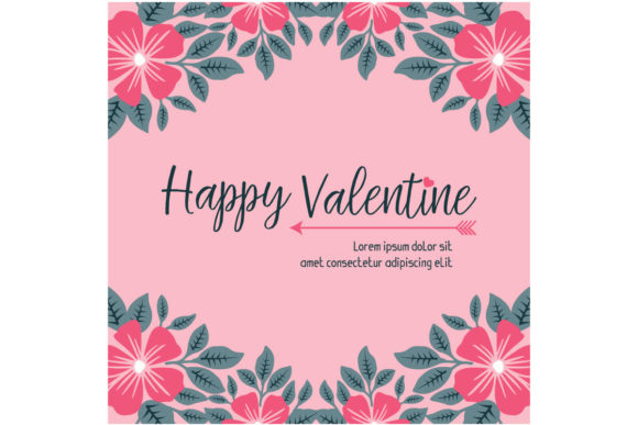 Download Free Floral Greeting Card Happy Valentine Day Graphic By Stockfloral for Cricut Explore, Silhouette and other cutting machines.