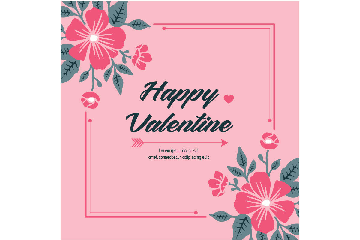 Floral Greeting Card Happy Valentine Day Graphic By Stockfloral