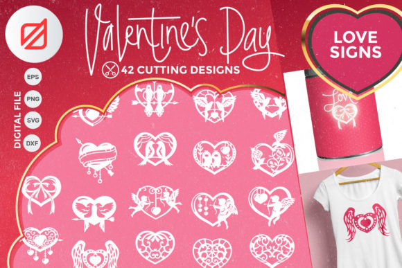 Print on Demand: Happy Valentine's Day Love Signs Cutting Graphic Crafts By illusatrian