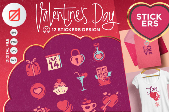 Download Free Happy Valentine S Day Sticker Collection Graphic By Illusatrian for Cricut Explore, Silhouette and other cutting machines.