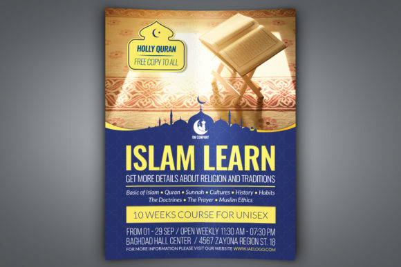 Download Free Islamic Flyer Template Graphic By Owpictures Creative Fabrica for Cricut Explore, Silhouette and other cutting machines.
