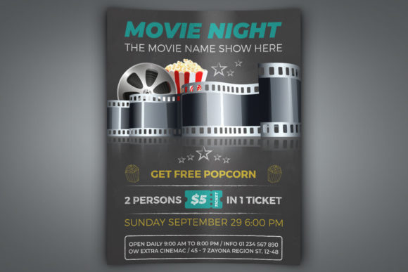 Print on Demand: Movie Night Movie Time Flyer Template Graphic Print Templates By OWPictures