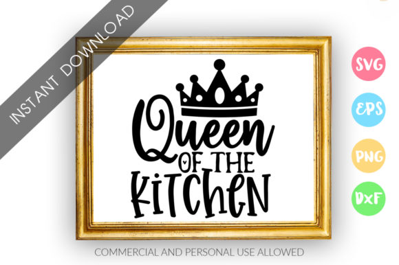 Download Free Queen Of The Kitchen Design Graphic By Designfarm Creative Fabrica for Cricut Explore, Silhouette and other cutting machines.