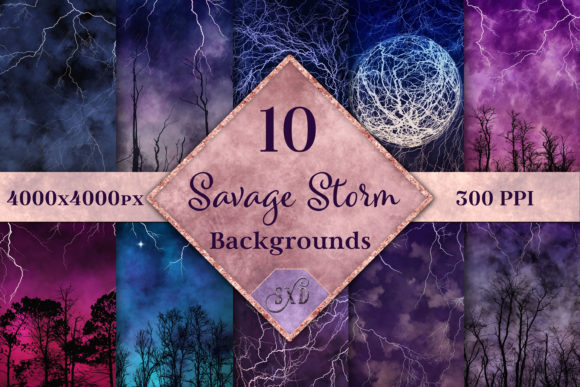 Savage Storm Backgrounds 10 Images Graphic