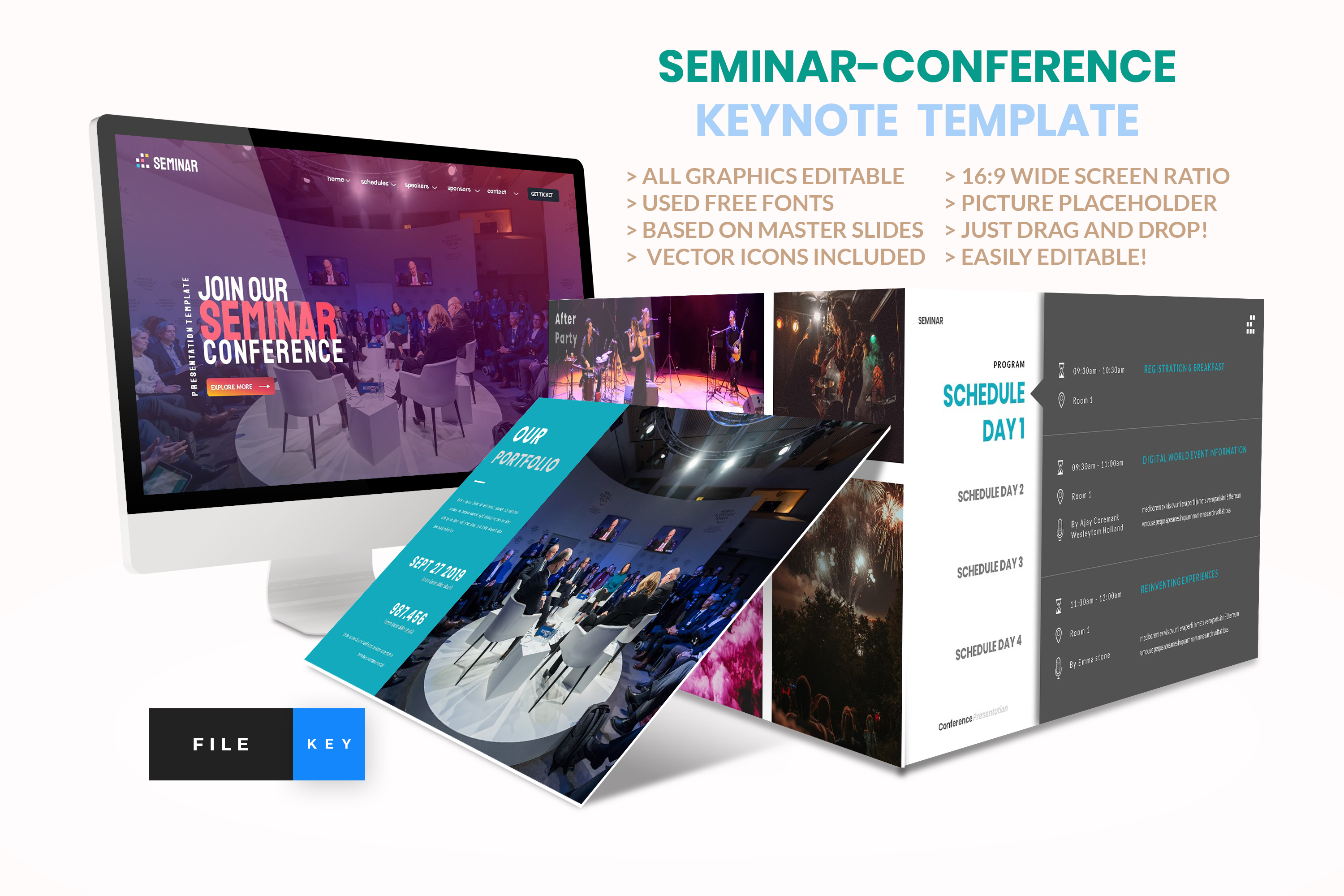 Download Free Seminar Conference Keynote Template Graphic By Artstoreid for Cricut Explore, Silhouette and other cutting machines.