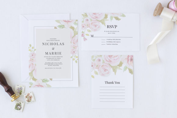Print on Demand: Set of Watercolor Wedding Suite Graphic Print Templates By Azka Creative