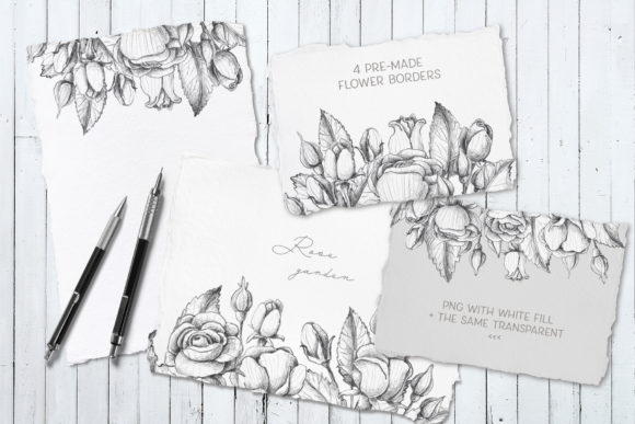 Print on Demand: Sketched Roses Patterns Frames Graphic Illustrations By Architekt_AT - Image 6