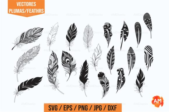 Vector Feathers Graphic By Am Diseno Creative Fabrica