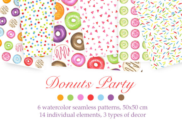 Print on Demand: Watercolor Donuts Party Graphic Patterns By tpushnaya