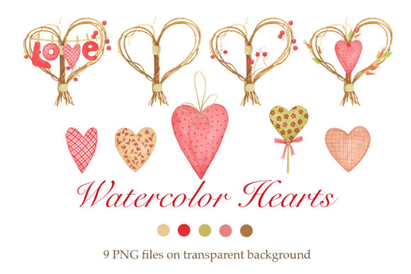 Print on Demand: Watercolor Hearts Clipart Graphic Illustrations By tpushnaya