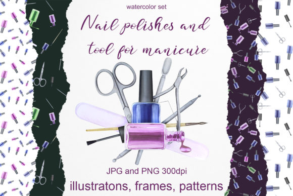 Print on Demand: Watercolor Set of Nail Polish and Tools Gráfico Ilustraciones Por Natalia Arkusha