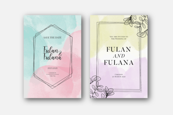 Watercolor Wedding Invitation Card Pack Graphic Print Templates By 1211 Design