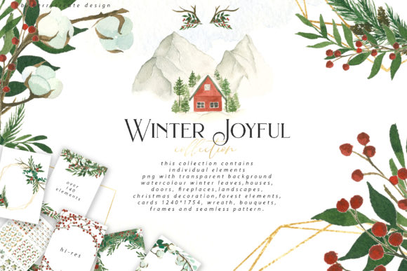 Watercolour Winter Joyful Clip Art Graphic Illustrations By BilberryCreate