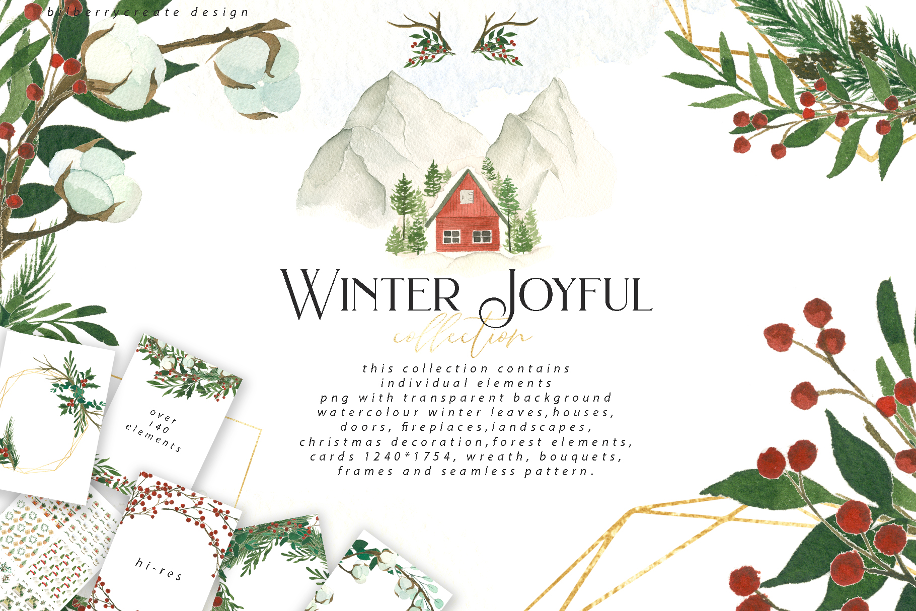 Download Free Watercolour Winter Joyful Clip Art Graphic By Bilberrycreate for Cricut Explore, Silhouette and other cutting machines.