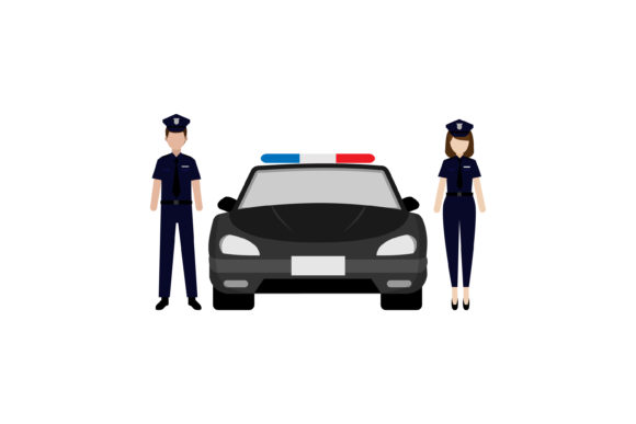 Download Free Police Profession And Police Car Graphic By Sabavector for Cricut Explore, Silhouette and other cutting machines.