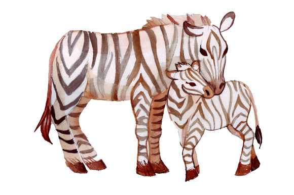 Mom and Baby Zebras in Watercolor Style Animals Craft Cut File By Creative Fabrica Crafts