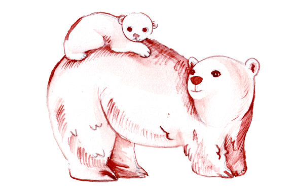 Mom and Baby Polar Bears in Watercolor Style Animals Craft Cut File By Creative Fabrica Crafts