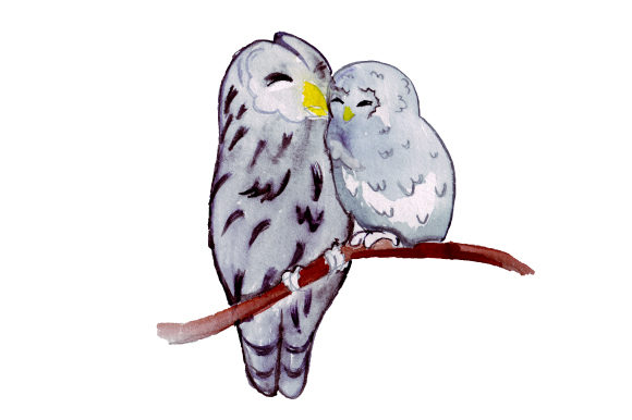 Download Free Mom And Baby Owls In Watercolor Style Svg Cut File By Creative for Cricut Explore, Silhouette and other cutting machines.