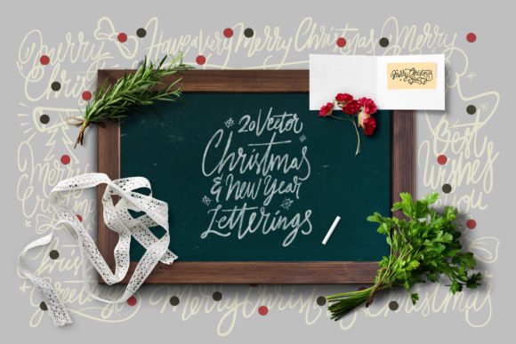 Print on Demand: 20 Christmas & NYE Letterings Vector Graphic Objects By ihsankl