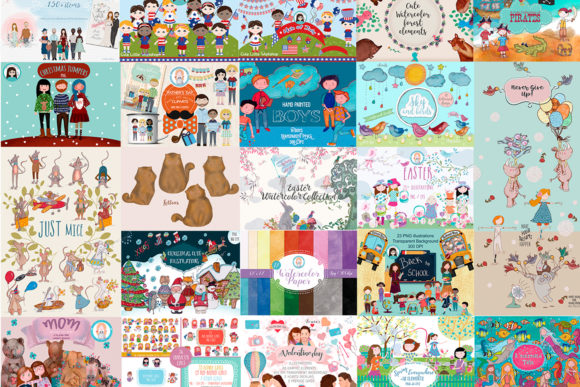 Big Bundle Clipart Characters Graphic Illustrations By CuteLittleClipart - Image 1