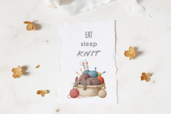Print on Demand: Cats and Knitting Clipart Graphic Illustrations By Architekt_AT - Image 6