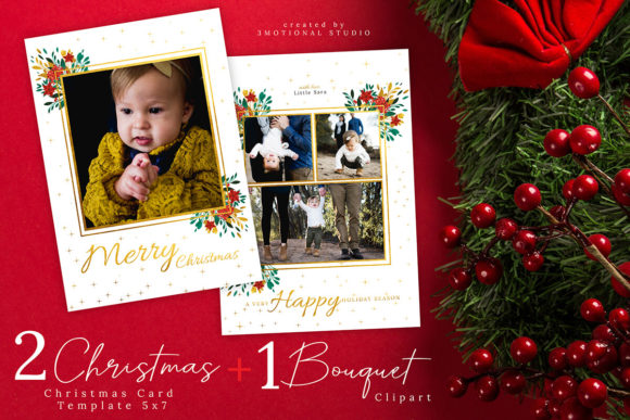 Print on Demand: Christmas Card Template 5x7 Graphic Illustrations By 3Motional