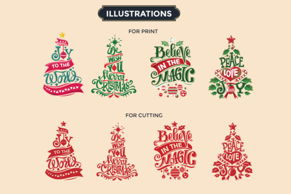Download Free Christmas Tree Quotes Collection Graphic By Illusatrian for Cricut Explore, Silhouette and other cutting machines.